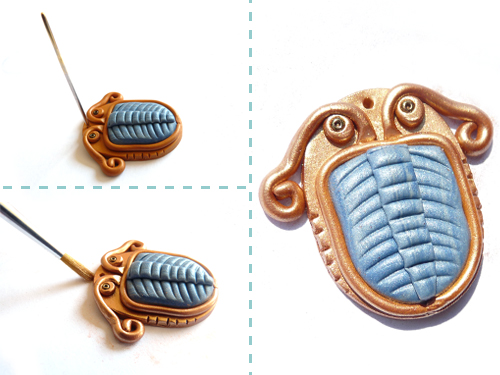 tutorial for making a polymer clay pendant in the shape of a trilobite