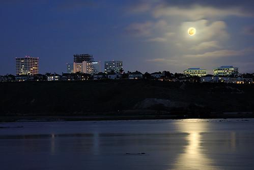 Perigee moon over Newport Center, Newport Beach, CA