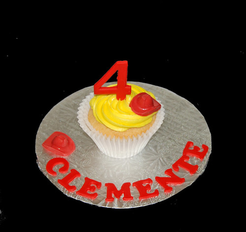 4th birthday personalized jumbo cupcake for firetruck birthday