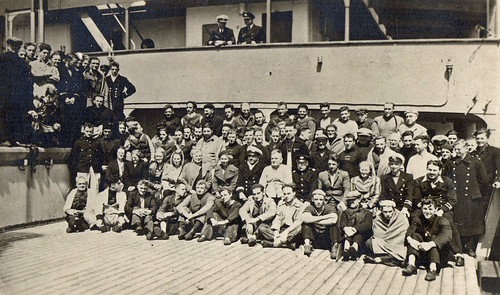 Captured crew and passengers of the merchant ship 'Port Wellington', on board German auxilliary cruiser (hilfskreuzer) 'Pinguin'. November 1940.