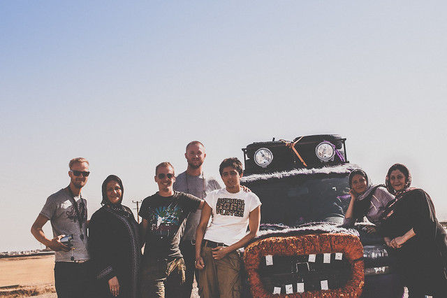 Group picture from Iran in front of the furrymobile - Mongol Rally 2011