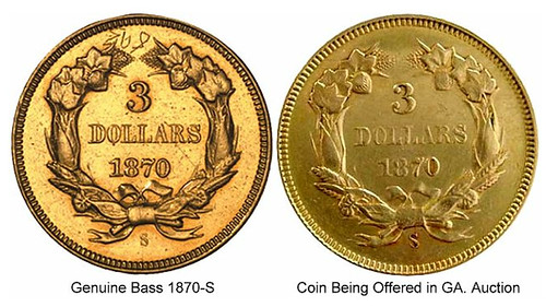 1870s thrre dollar gold comparison