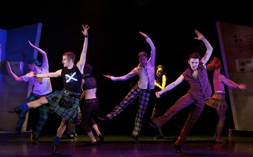 Victor Zarallo, Daniel Davidson and Nicholas Shoesmith in Scottish Ballet's production of Matthew Bourne's Highland Fling. Photograph by Andy Ross