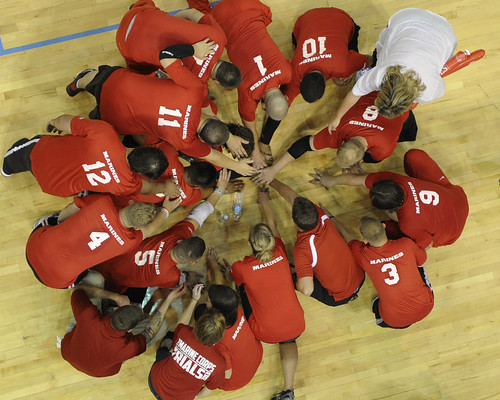 <p>Members of the U.S. Marine Corps sitting volleyball team gather before a game against the U.S. Army team during the 2013 Warrior Games in Colorado Springs, Colo., May 15, 2013. The Marines beat the Army team to win the gold medal. The Warrior Games is an annual event allowing wounded, ill and injured Service members and veterans to compete in Paralympic sports including archery, cycling, shooting, sitting volleyball, track and field, swimming and wheelchair basketball. (DoD photo by Lance Cpl. Sharon Kyle, U.S. Marine Corps/Released)</p>
