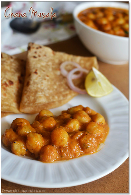 Chana Masala Recipe - Easy Chole Masala (without coconut) | Sharmis ...