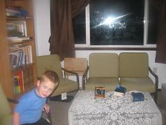 Boy photobombing the family room area