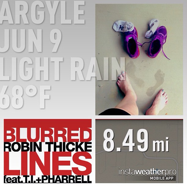 A soggy 8.5 miles... favorite song on my run... I have really high arches. #motherrunner #56milesinjune #mizunorunning