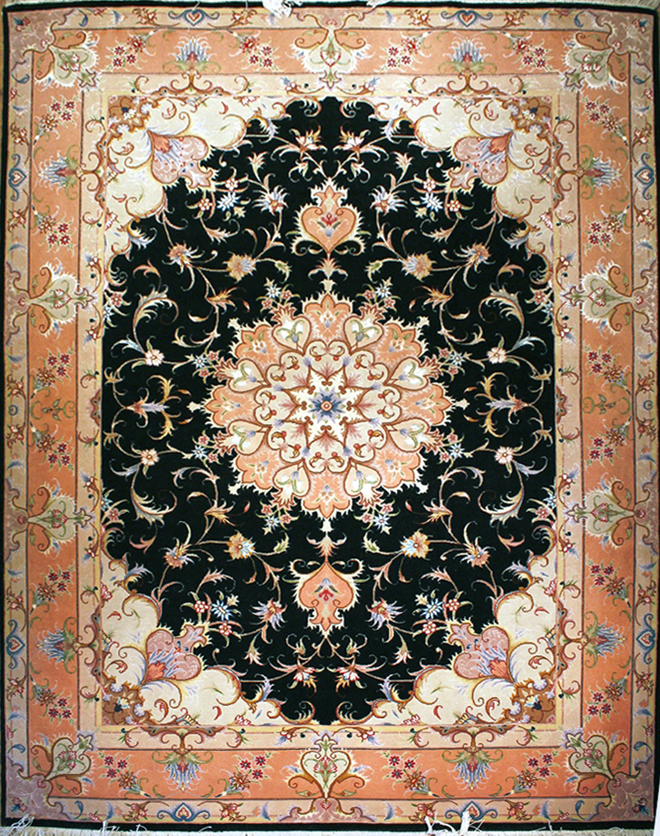 Tabriz Sherkat Wool & Silk Persian Area Rug