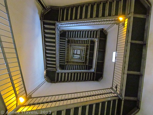 The stairs spiral upward inside the High Point Monument, High Point State Park, New Jersey