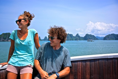 Enjoying the deck of our boat on a cruise around Ha Long Bay, Vietnam