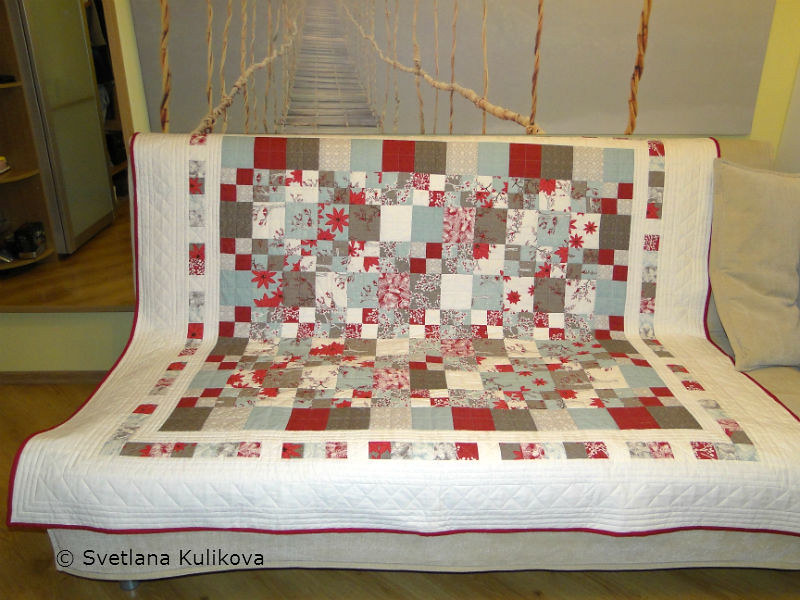 Svetlana's quilt on the sofa