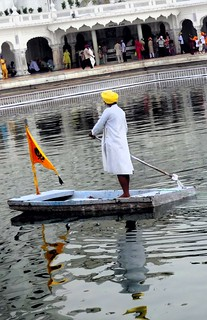 """Nanak naam jahaz hai, chade so utre paar."" (Faith in Nanak will take you out of the troubled waters.)"