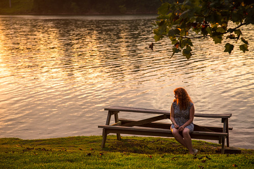 sunset portrait lake girl bench georgia redhead chatuge hiawasse