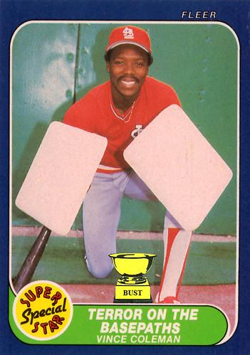 Baseball Card Bust Vince Coleman 1986 Fleer Super Star Special