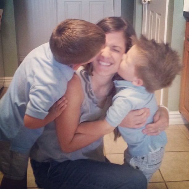 Kisses from the bigs. I love being a boy mom. #latergram