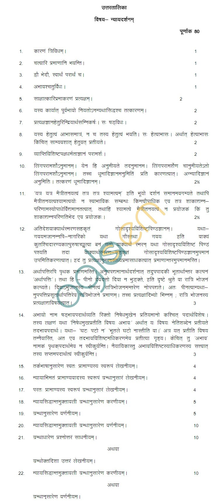 Rajasthan Board Class 12 Nayay Darshan Model Question Paper