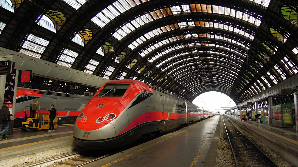 Frecciarossa high-speed trains, Milano Centrale railway station, Lombardy