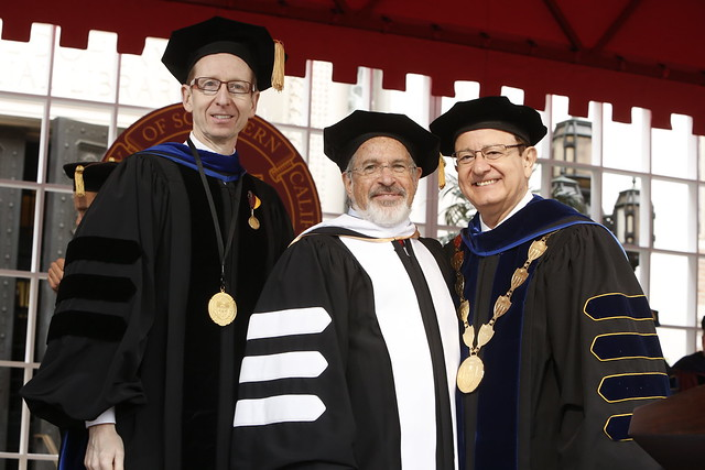 USC Provost Michael Quick, Honorary Degree Recipient Leonard Schaeffer, USC President C. L. Max Nikias