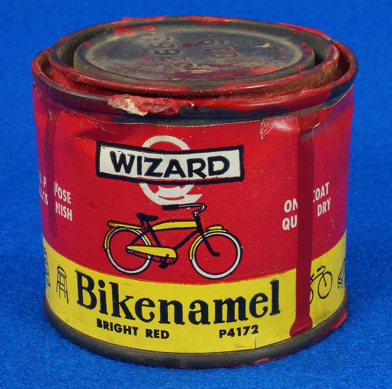 RD14755 Vintage Wizard Bikenamel Bright Red P4172 Bicycle Paint Quarter Pint DSC06312
