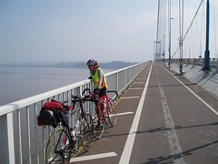Helen on the old Severn Bridge Image
