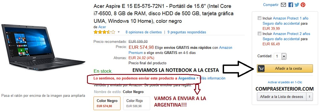 comprando una notebook en Amazon