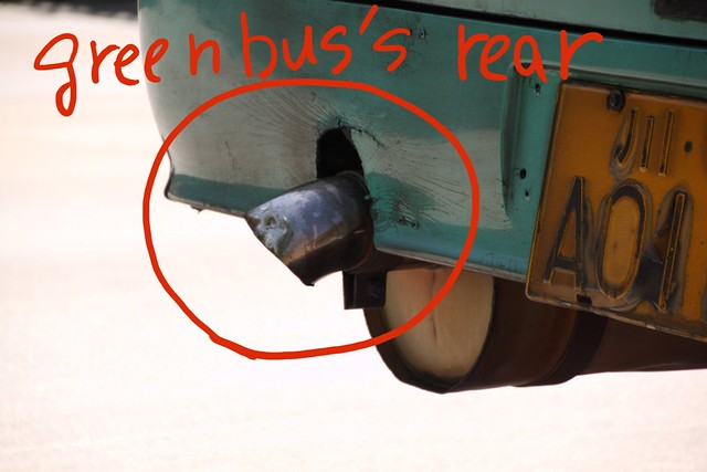 Clean energy green bus's rear