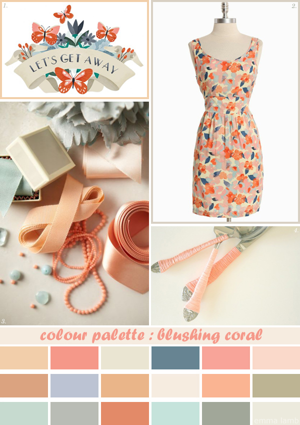 colour palette : blushing coral, curated by Emma Lamb / Image credits: 1. Small Talk Studio, 2. Ruche, 3. BHLDN, 4. A Fabulous Fete
