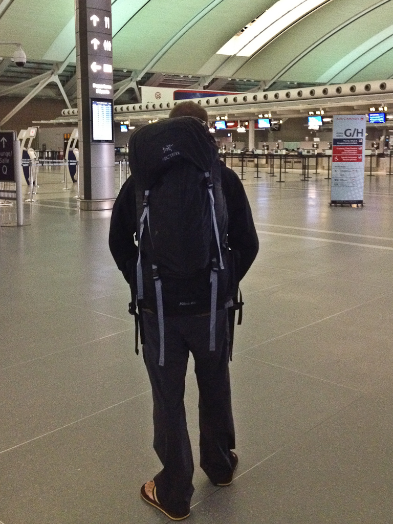 around the world travel with arcteryx backpack