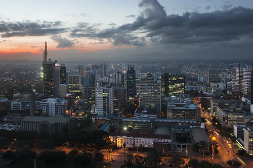 africa city sunset clouds lights evening high downtown kenya nairobi aerial catalinmarin momentaryawecom