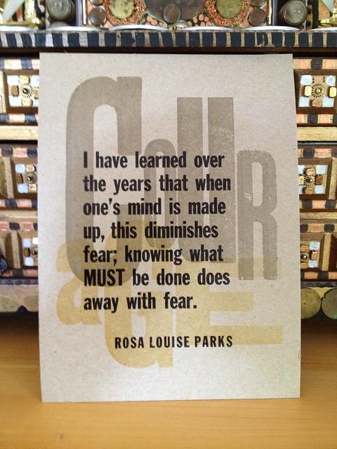 Amos Paul Kennedy Jr's Letterpress Card: Rosa Parks