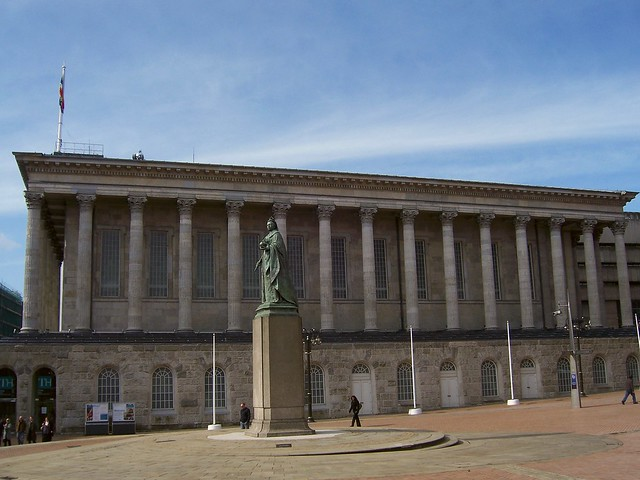 Birmingham Town Hall, the design was based on the proportions of the Temple of Castor and Pollux in the Roman Forum, Birmingham