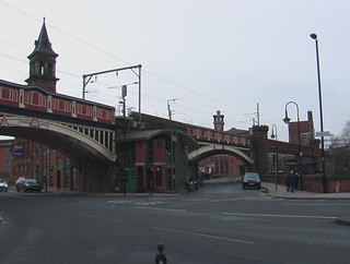 Bridges on electrified railway near Deansgate station in Manchester