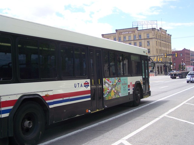 Bus with a ad sign promoting the Utah Transit Authority's Bike Festival