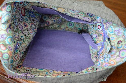 inside of Finished sidekick tote