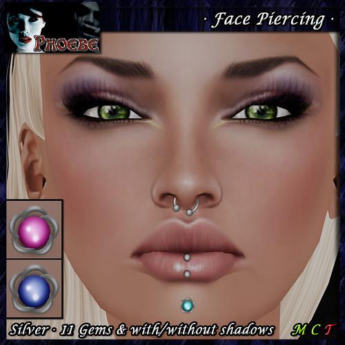*P* Woman Face Piercing Q8 ~Silver-11 Gems~