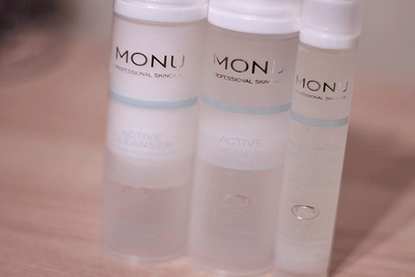 Monu Active Cleanser, Active Toner and Eye Cool Gel