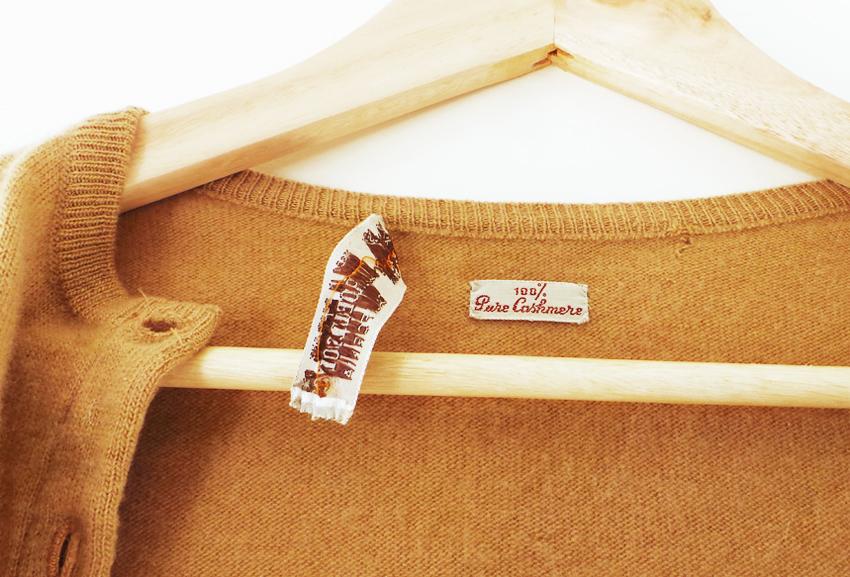 tan cashmere vintage cardigan b