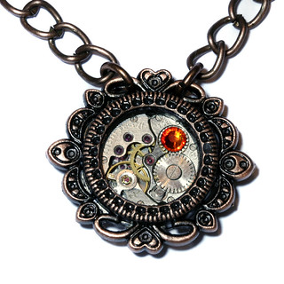 Steampunk Victorian Jewelry - Watch Movement and Fire Opal Crystal - Copper Tone