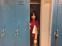 furniture, clothing, red, locker, door, blue,