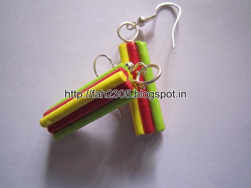 Handmade Jewelry - Rolled Bar Paper Earrings (Square) (2) by fah2305
