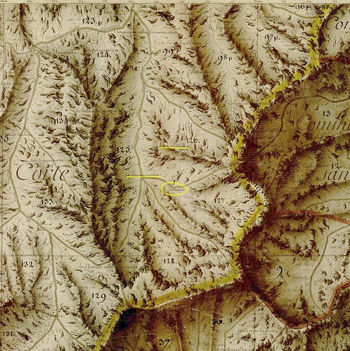 Plan Terrier 1770 avec le secteur des bergeries de Furmicuccia dans le vallon de Bravinu