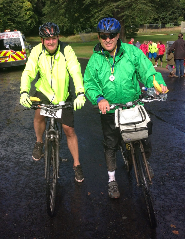 David Zwirlein and Laurie Bidwell at the finish of the 2013 Dundee Cyclathon