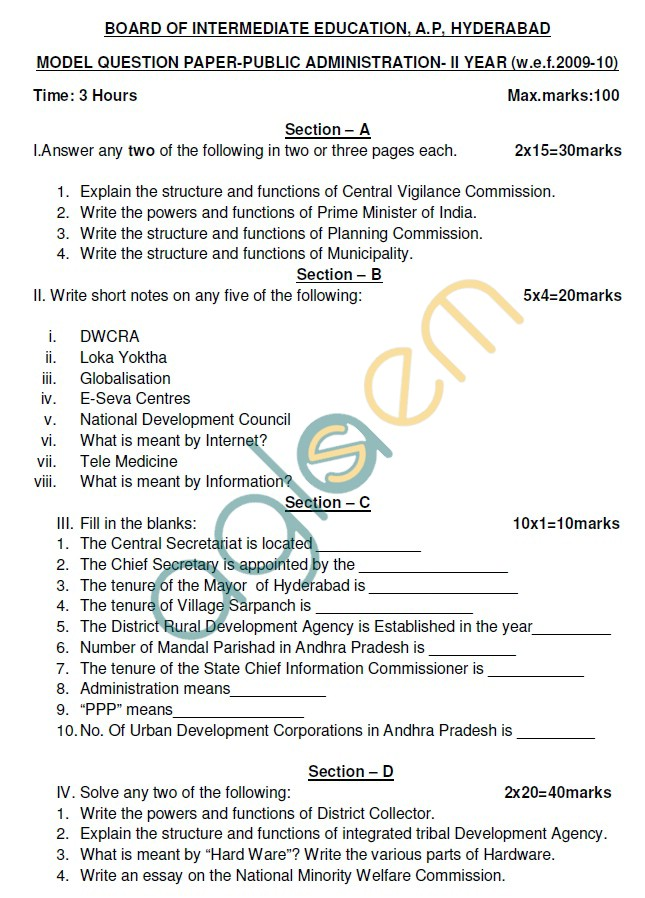 AP Board Intermediate II Year Principles of Public Administration Model Question Paper