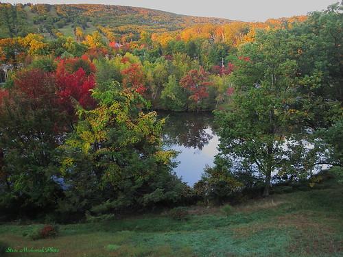 autumn trees lake mountains reflection fall leaves canon pond fallcolors powershot foliage g12 smack53