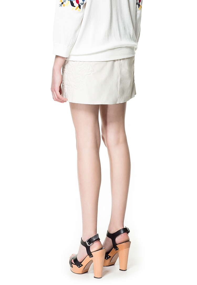 Zara Embroidered Leather Mini Skirt