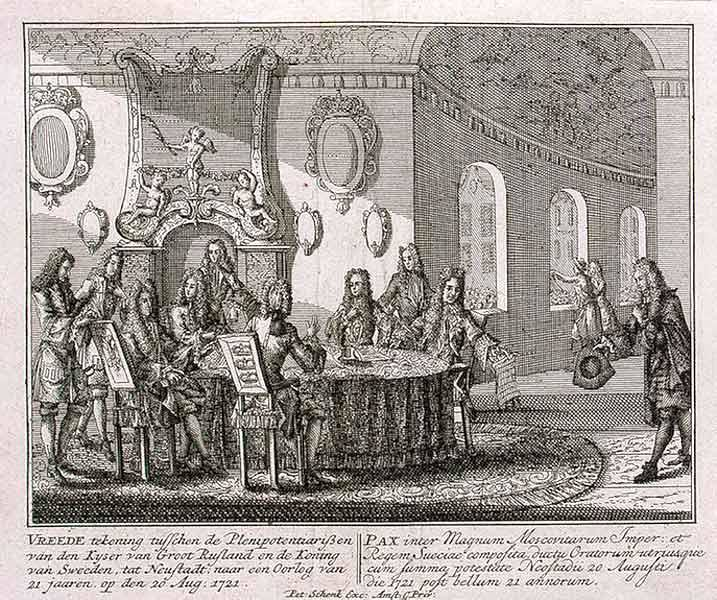Signing of Treaty of Nystad, by Peter Schenk the Younger