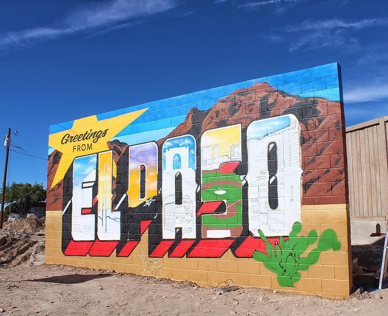 "THRILLED that traveling artists @greetingstour have come to #ElPaso, thanks to local coordination by @3rdshifters! El Paso will soon join other major cities including Chicago, Denver, and Seattle, as home to a ""Greetings From…"" postcard mural. 🎨 #WIP"