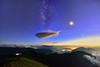 合歡山主峰~飛碟雲追月~  Milky way on UFO cloud(Lenticular Cloud)