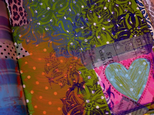 art journal, gouache stamping