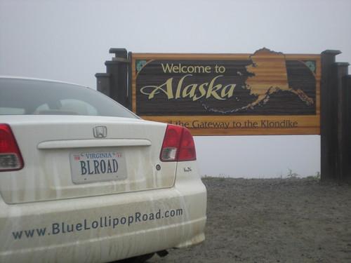 The BLR-mobile at the Alaska border in Skagway